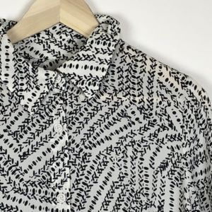=CABI=Open Tiered Back Black White Blouse S
